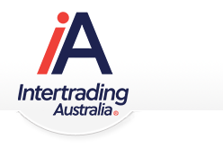 Intertrading Logo; a globe encircled by shaking hands. Motto is Trading with Integrity.