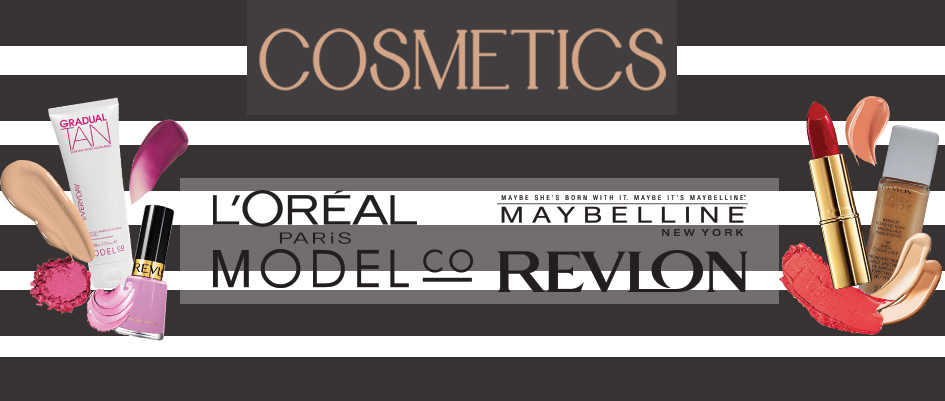 Cosmetics, over 500 branded items readily available